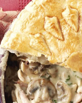 Chicken, Mushroom & Bacon Pie for two